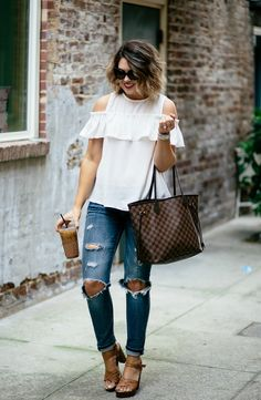 Cold Shoulder top, neutral outfit, Louis Vuitton neverfull, ripped denim, ruffle top outfit