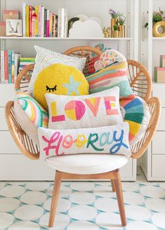 """Join 10 people right now at """"cozy up with our newest pillow collection. - Oh Joy! Cute Pillows, Colorful Pillows, Throw Pillows, Diy Pillows, Punch Needle Patterns, Complimentary Colors, Getting Cozy, Home Goods, Kids Room"""