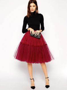 This flirty skirt is right up Carrie Bradshaw's alley // ASOS Mesh TuTu Skirt in wine