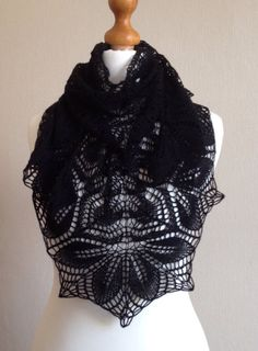 Haruni Hand Knitted Lace Shawl in Black Merino by Snugglescuddles, £50.00