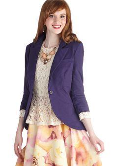 Fine and Sandy Blazer in Violet | Mod Retro Vintage Jackets | ModCloth.com