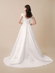 Moonlight Tango T784 Simple Satin Ball Gown Wedding Dress with Pockets