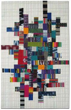 Great quilt of modern patchwork. From Liz Kuny, contemporary quilt artist Patchwork Quilting, Scrappy Quilts, Mini Quilts, Diy Quilting, Crazy Patchwork, Quilting Ideas, Quilt Inspiration, Impression Textile, String Quilts