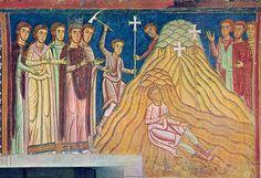 Rome - Basilica SS Quattro Coronati, Oratorio San Silvestro - Scene 10 - imperatrice Elena punta alla vera croce di Cristo tra le altre croci