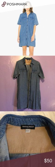 Gorgeous rarely worn AA denim Tyler Dress Short sleeve denim dress from American Apparel! Only worn once, this dress is knee length on my 5'4 frame and has 2 pockets on the side (which are amazing). Size XS American Apparel Dresses