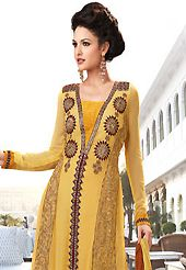 The most beautiful refinements for style and tradition. The dazzling yellow faux georgette churidar suit have amazing embroidery patch work is done with resham, zari and stone work. Beautiful embroidery work on kameez is stunning. The entire ensemble makes an excellent wear. Matching santoon churidar and shaded chiffon dupatta is available with this suit. Slight Color variations are possible due to differing screen and photograph resolutions.