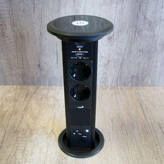 Konnektor Munkalapba süllyeszthető Motoros 3-as-2db-USB Fekete Bluetooth hangszóróval Power Strip, Bluetooth, Usb