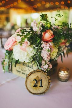 Pretty Rustic Inspired Centerpiece with Table Numbers