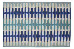 Olivia Flat-Weave Rug, Blue I was thinking Jute but I really like this rug