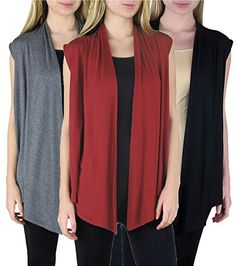 Free to Live Women's 3-pack Lightweight Knit Open-Front Sleeveless Cardigans