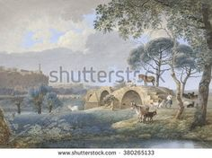 Scene in Tours, by Josephus Augustus Knip, 1808, French watercolor painting. Ancient Roman bridge at St. Avertin near Tours with a herder and animals. - stock photo