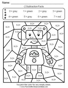 Grade Go Math Practice Subtraction Facts Color By Numbers Christmas Math Worksheets, Math Coloring Worksheets, 3rd Grade Math Worksheets, Printable Math Worksheets, Number Worksheets, Go Math 2nd Grade, Second Grade, Math Subtraction, Math Math