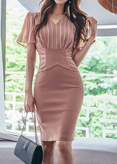 Stripe Print Back Slit V Neck Sheath Dress