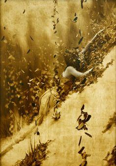 the paintings and artwork of brad kunkle. gold leaf artist and painter brad kunkle. Painting People, Figure Painting, Illustrations, Illustration Art, Silver Leaf Painting, Brad Kunkle, Painted Leaves, Gustav Klimt, Contemporary Paintings