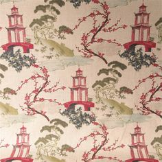 This is a red, pink, green and blue oriental toile on light tan drapery fabric, suitable for any decor in the home or office. Perfect for pillows, drapes and bedding.v214EEF