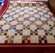 Our Amish Made Nine Patch Calico Quilt Is Full Of Surprising Color, Offset By Spaces (charming Amish Quilts Patterns #10)