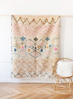 "theglitterguide: "" Handwoven Moroccan Azilal Rug, ""The Georgia,"" Berber Rug, Beni Ourain, Pink Rug, Cream Wool Rug, Boh @Etsy (US) """