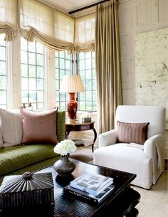 8 (soft & relaxed) relaxed roman shade btwn panels via dragonfly francaise, designer cheryl tauge Plywood Furniture, Design Furniture, Painted Furniture, Home Interior Accessories, Interior Design, Design Design, Relaxed Roman Shade, Living Spaces, Living Room