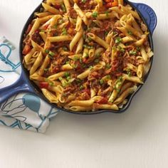 Barbecue Pork and Penne Skillet Recipe ~ Uses 1 carton (18 ounces) refrigerated fully cooked barbecued shredded pork