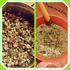 peas & okra soup , with cucumbar, spinach , many fresh herbals and coconut creme Okra, Vegan Food, Vegan Recipes, Spinach, Herbalism, Beans, Coconut, Soup, Fresh
