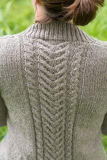 Wethersfield is an open cardigan or fall jacket with very simple, but lovely, cables. It is worked in one piece from the bottom up, separated for the armholes and then using short row sleeve caps the sleeves are worked down. The only seaming is at the shoulders.