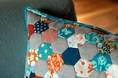 grey orange and blue, i like these colors for my guest room!