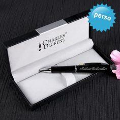 #design3000 Personalisierbares Charles Dickens Kugelschreiber Geschenkset mit Namensgravur.