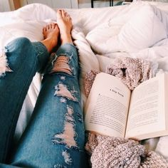 book, jeans, and bed