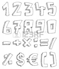 Vector mano trafilati, numeri e segni di matematica