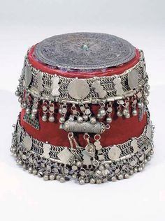"Syria | ""Sherkez"" ~ woman's hat; wool, silver 