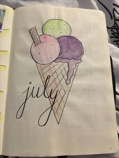 Bullet journal - monthly front page - ice cream theme - July - bujo
