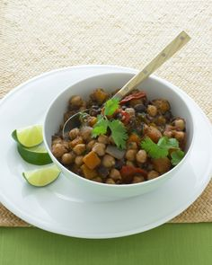 Two-Bean Vegetarian Chili | Martha Stewart Living - We like the black-bean and chickpea combination, but feel free to use your favorite beans.