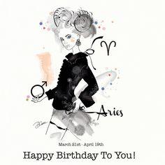 Aries Ariete Birthday Card Greeting Card by DannyCaranStudio