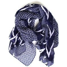 Peaks Valleys Scarf Navy ❤ liked on Polyvore