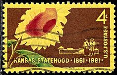 USA.  Kansas Statehood Centenary.   Sunflower, Pioneer Couple and Stockade.  Scott 1183 A621, Issued 1961 May 10, Giori Press Printing, 4c, Perf. 11. /ldb.