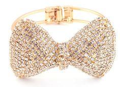 Goldtone Iced Out Bow Tie Style Bangle Bracelet JOTW