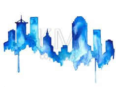 This is a print from my original watercolor painting of Tulsa    The print version comes on 100lb high quality laser print paper.  Size: 8-1/2 x