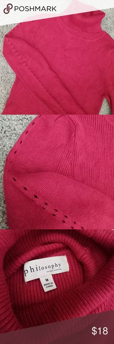 Philosophy Red Turtleneck Sweater M EUC.  Worn maybe 5-6 times.  Ribbed and fitted.  I am a size 6 and 36 chest and it fits nicely-- not too tight.  Pretty open detail on the arms.  Smoke free and pet free home.  Light weight and comfortable. Philosophy Sweaters Cowl & Turtlenecks
