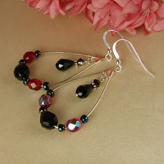Handmade Fire Polished Czech Glass Jet & Ruby Swarovski Crystal Earrings