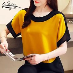 Online Shop blusas mujer de moda 2019 chiffon blouse plus size ladies tops shirts Solid Short O-Neck Batwing Sleeve women blouse 3397 50 Blouse Styles, Blouse Designs, Head Clothing, Bluse Outfit, Summer Blouses, Shirt Blouses, Shirts, Plus Size Blouses, Blouses For Women