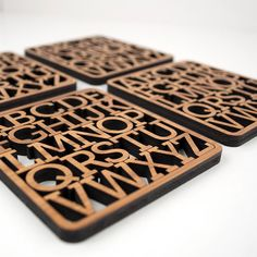 Bamboo Alphabet Coasters: Modern Typography Wood Coasters (Set of 4)