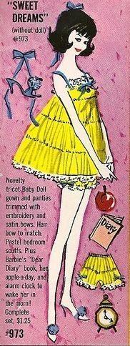 1960s Barbie yellow shortie pajama set
