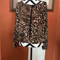 Michael kors Beautiful mk blouse long sleeve elastic waist animal print Michael Kors Tops Blouses