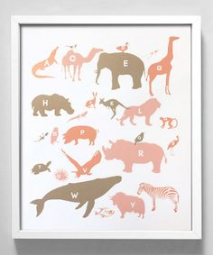 Pink & Taupe Alphabet Animals Print by Gus & Lula