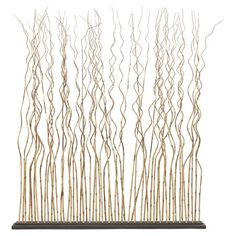 Natural bamboo room divider with a wood base.Product: Room divider    Construction Material: Bamboo and wood...