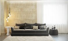 The slouchy gray sofa has its own modern appeal without the harsh firmness that some contemporary styles can have.