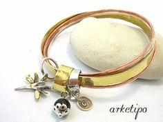 Personalized Bracelet of brass sterling silver and by Arketipo