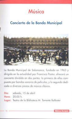 Música. Concierto Banda Municipal de Salamanca. Sábado 15 abril 2000