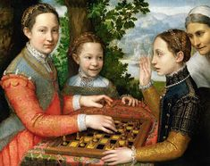The Chess Game (Portrait of the artist's sisters playing chess) by Sofonisba Anguissola National Museum in Poznań, Poland. Lucia, Minerva and Europa Anguissola playing chess. Many of Anguissola's paintings feature self-portraits and her family. Renaissance Kunst, Die Renaissance, Renaissance Portraits, Michelangelo, Kunsthistorisches Museum, Infinite Art, Female Painters, Italian Painters, Local Painters