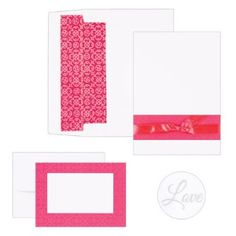 """Fuchsia Band Invitation Kit. White invitations with fuchsia band and scroll pattern,   and coordinating 5/8"""" satin ribbon.   5 1/2"""" x 7 3/4"""".   Coordinating R.S.V.P. folders, 4 7/8"""" x 3 1/2"""" folded.   White R.S.V.P. envelopes and white invitation envelopes with fuchsia liners included.   White envelope seals with silver foil """"Love"""" included.   Package of 50."""